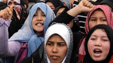 Afghanske kvinder demonstrede 15. april i Kabul mod det oprindelige udkast til familielovgivningen.