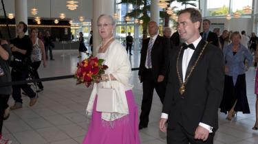 Dronning Margrethe og Århus-borgmester Nicolai Wammen ankommer til åbningen af Århus Festuge.
