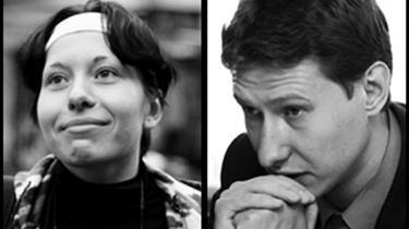 Anastasia Baburova (t.v.) og Stanislav Markelov blev myrdet i Moskva i januar. Nu har politiet arresteret to personer, der er mistænkt for at stå bag mordet. De to anholdte har en fortid i den ultranationalistiske organisation Ruslands Nationale Enhed.