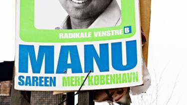 De skrappe farver på de radikales valgplakater i København kan få selv Manu Sareens kulør til at se gusten ud. Så fornuftigt nok har man valgt at lade kandidaterne optræde i sort-hvid.