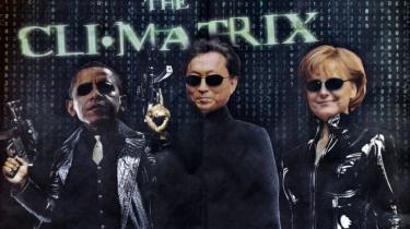 Britiske Financial Times bragte i går denne opfordring til tre sværvægtere på COP15-mødet: USA's Barack Obama, Japans regeringschef, Yukio Hata-yama, og kansler Angela Merkel om at bruge actionhelte-trick a la Matrix-filmen for at få en historisk ny klimaaftale på plads.