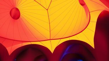 Kultur skal ud til folket, eller som her: Folket ind i kulturen: En labyrint-installation med farvet lys i forbindelse med Metropolis Festivalen i ®™re°©staden.