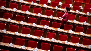 Folkets Store Hal i Beijing er gjort klar til Den Nationale Folkekongres, der begynder i dag.