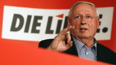 Oskar Lafontaine, en af lederne af Die Linke hører til partiets venstrefløj, der tilsyneladende har været toneangivende i udkastet til et principprogram.