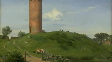 'Gåsetårnet i Vodringborg fra 1842 af Johan Thomas Lundbye. Men der er ingen forgyldt gås på tårnet. Maleriet måler141 x 156,5 cm.