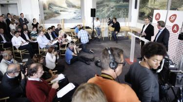 Socialdemokraternes finansordfører Morten Bødskov og SF's gruppeformand Ole Sohn fremlagde i går de to partiers første fælles udspil til et finanslovsforslag.