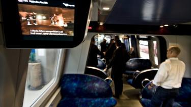 Belastende. DSB har indført   tv-skærme med nyheder og reklamer i S-togene til stor irritation for denne uges klummist.