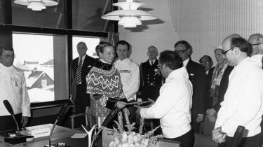 Dronning Margrethe og Jonathan Motzfeldt ved ceremonien i forbindelse med oprettelsen af Det Grønlandske Hjemmestyre 1. maj 1979. Siden bød Motzfeldt dronningen på grønlandsk polka