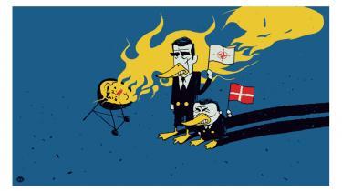 Sildig opvågnen. Det går ikke så godt i Andeby, men Nato-Anders, Moster Skrap, Lars Insolvent, Solgryn og Milliona Pengekowa har i det mindste høj underholdningsværdi