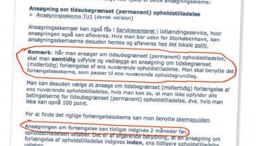 Foreningen Ægteskab Uden Grænser har tidligere gjort Udlændingeservice opmærksom på vildledning om permanent ophold. Alligevel blev vejledningen ikke rettet