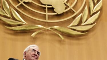 Erfaren. Strauss-Kahns plads på den internationale arena, som her ved en FN-høring om finanskrisen, er vigtig for franskmændene. De stemmer ikke på en uerfaren kandidat, som f.eks. Obama, siger Michel Taubmann.