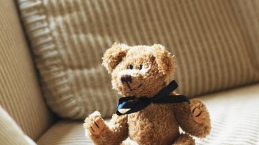En sød bamse hygger sig i solen ... eller rettere: et udstoppet stykke stof er placeret i en sofa. En død ting som en bamse kan jo ikke hygge sig, vel?