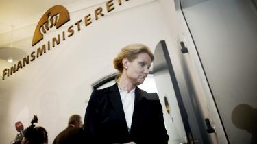 Socialdemokraternes formand, Helle Thorning-Schmidt, da hun kom  til Finansministeriet i går.