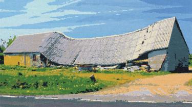 Kunstneren Thomas Wolsing giver trøstesløsheden farve i korsstingsbroderier, der forestiller forladte faldefærdige huse og nedbrændte møller.
