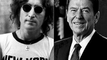 Musiker og sangskriver John Lennon (th.) var ret betaget af skuespiller og præsident Ronald Reagan, oplyser personer tæt på Lennon.