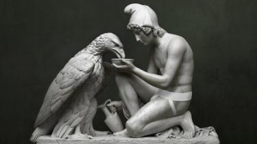 Michael Elmgreen & Ingar Dragset: 'Ganymedes (Jockstrap)'   200 x 150 cm. Ørnen vil ifølge myten bortføre Ganymedes om lidt. Senere skal han så voldtages af Jupiter og bliver Zeus' erobring og elsker.
