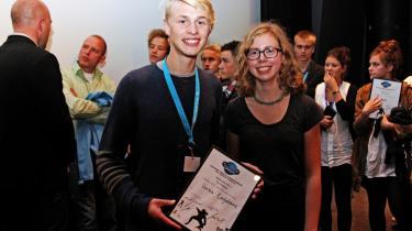 Fremtidens filmskabere. Malthe Gaarden og Cecilia Weiland Mathiasen vandt Brancheprisen for dokumentarfilmen Vores Englebarn i årets OREGON filmkonkurrence, der hører under Buster Filmfesival.