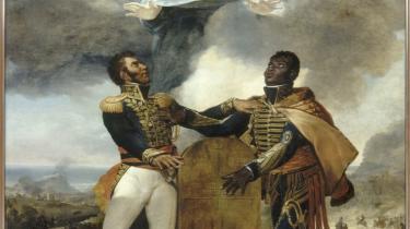 Guillaume Guillon Léthiéres enorme maleri 'Forfædrenes ed'   (malet i 1822) fra Haiti åbner udstillingen på Louvre. På maleriet ser man en pagt om Haitis selvstændighed blive indgået mellem den sorte general Dessalline og lederen af mulatterne Pétion i 1806. Det kunne signalere, at de de to herrer er ligeværdige med de tidligere koloniherrer, men den Gud, der svæver over de to mørke uniformklædte mænd og deres pagt, er hvid!