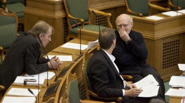 I 2004 syntes den nuværende regeringskonstellation helt utopisk. Alligevel sad SF's gruppefomand Aage Frandsen systematisk og opgjorde, hvor S, SF og R havde fælles interesser. Siden blev projektet med at gøre SF regeringsduelige fuldbragt af Villy Søvndal og Ole Sohn. arkiv