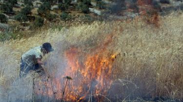 En palæstinensisk mand fra landsbyen Urif på Vestbredden forsøger at slukke en markbrand, der var antændt af israelere fra bosættelsen Yitzhar.