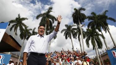 Mitt Romneys kampagne har lagt vejen forbi Florida flere gange end nogen anden stat. Her holder præsidentkandidaten tale i byen Sarasota.