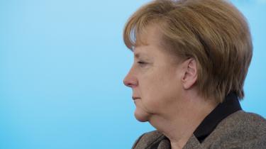 Den tyske kansler, Angela Merkel, under et pressemøde med den tyske præsident, Vladimir Putin, efter et bilateralt møde i Kreml den 16. november 2012.