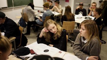 Elever på privatskoler med overvejende ressourcestærke elever får i København større tilskud end tilsvarende folkeskoler, viser en undersøgelse fra Cevea. Her elever på Ingrid Jespersens Gymnasieskole.