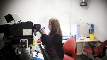 'Det var det, der gav mig det allerstørste kick. At sidde og kigge gennem mikroskopet og se direkte ind i processerne i en levende celle. Det fik mig til at blive mange timer på laboratoriet,' siger Camilla Stampe Jensen.