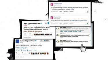 Et udpluk af de falske Twitter-nyheder, som den selvbestaltede Syriens Elektroniske Hær har udsendt ved at hacke mediernes konti. Collage: Jesse Jacob/iBureauet