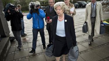 Birthe Rønn Hornbechs forklaringer i Statsløse-kommissionen om, hvornår hun vidste hvad i sagen, blev i går undermineret endnu mere af to højtstående embeds-mænd. Her ses hun selv møde op til udspørgning i kommissionen den 8. maj i år.