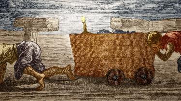 'Da man i 1819 i England introducerede en lov, der begrænsede lønarbejde til personer over otte år og maksimalt 12 timers arbejde om dagen, skabte det rama-skrig blandt fortalerne for det frie marked. Men ingen ville i dag acceptere en sådan form for børnearbejde, og ingen ville kritisere et sådan tiltag for at bryde med det frie marked', siger økonomiprofessor Ha-Joon Chang. Illustration: Scanpix