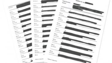 Tre af de 44 overstregede sider med aktlister, som Information har fået aktindsigt i af PET