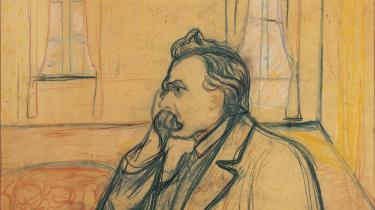 Den tyske filosof, som den norske maler Edvard Munch så ham i 1905. Nietzsche mente, at den moderne sekulariserede kultur havde 'dræbt' Gud og dermed ødelagt orienteringspunktet for liv og mening i Vesten