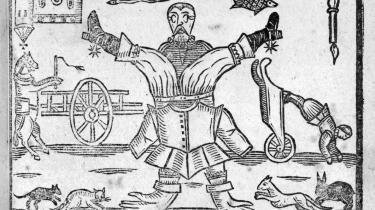 Tegning fra forsiden af en pamflet, udgivet kort tid før den engelske borgerkrig brød ud i august 1642. Det viser en verden, vendt på hovedet: manden har sin rustning omvendt på, musen løber efter katten, fisken svømmer i himlen, kirken vender på hovedet. Illustration fra bogen