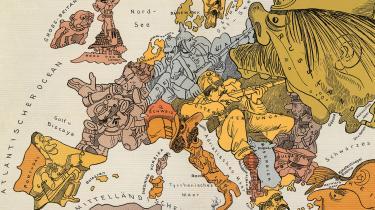 Ignoreret. Produktionen af karikerede landkort blev en hel industri under krigen, her med Europa udformet som personer. Danmark træder ikke i karakter, dels fordi landet er så lille, at der ikke er tilstrækkelig plads til kunstnerisk udfoldelse, dels fordi landet ikke for alvor tæller med i det storpolitiske spil. Foto fra bogen