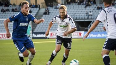 På vej ud. Når veteranen Martin Jørgensen – i midten - stopper karrieren efter den igangværende halvsæson, er antallet af spillere der reeelt holder Superliga-klasse på AGF's førstehold, så begrænset, at det er tvivlsomt, om de kan føre holdet ud af krisen.