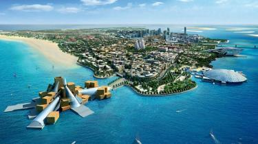Forrest Guggenheims seneste realiserede museumsfilial tegnet af Frank Gehry i Abu Dhabi, hovedstaden i Emiraterne. Det åbner i 2017. Den runde bygning ved siden af er en filial af Louvre, tegnet af Jean Nouvel. Yderst t.h. Zaha Hadids koncertbygning. Illustration: guggenheim.org
