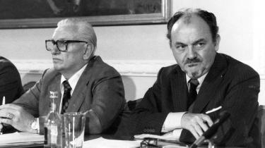 Formand for LO, Thomas Nielsen (tv) og Anker Jørgensen, formand for Socialdemokratiet og statsminister i preioden 1972-73 samt 1975-82