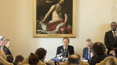 Ban Ki-moon deltog ved sidste uges konference i Vatikanet, hvor 60 videnskabsfolk og religiøse ledere var samlet