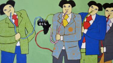 Den bramfrie og meget politiske kenyanske kunstner Michael Soi er mest kendt for en serie malerier med titlen 'China Loves Africa', hvor blandt andre kinesiske mænd drikker Afrikas råolie med sugerør, og hvor afrikanske kvinder har hænderne langt nede i kinesiske mænds underbukser. Maleri: Michael Soi