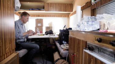 DF's formand, Kristian Thulesen Dahl, i partiets campingvogn på Folkemødet på Bornholm.