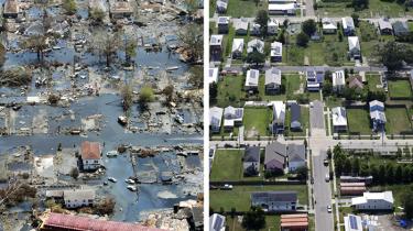 Denne sammenstilling af to billeder af New Orleans' hårdest ramte kvarter, Ninth Lower Ward, henholdsvis den 30. august 2005 (t.v. ) viser oversvømmelsens massive omfang og det samme sted i august i år. Byen er stadig mærket af Katrinas følger, idet indbyggertallet i 2014 var 384.320 sammenlignet med 494.294 for 10 år siden. 1.800 druknede eller mistede livet under Katrina