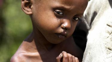 Ca. 10 millioner mennesker mangler lige nu akut fødevarehjælp i Etiopien. Her en underernæret fireårig etiopisk pige fra landets seneste hungersnød i 2011.