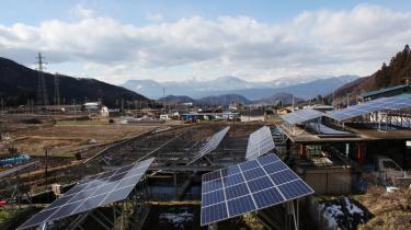 Solcelleanlæg i nærheden af Nagano.