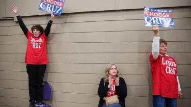 Ted Cruz er sammen med Donald Trump favorit til at vinde republikanernes partivalg i Iowa i aften