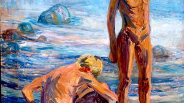 I stedet for at måle Sigurd Swane imod den internationale og lokale avantgarde forsøger Øregaard Museum at vurdere værkerne i deres egen ret. Her ses 'Badende drenge' fra 1913. Olie på lærred.