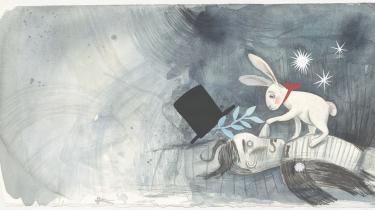 Da tryllekunstneren dør, kan kaninen K pludselig ikke længere komme ind i sin hat – eller nogen andre hatte. Alle hatte synes lukkede. Illustration: Anna Margrethe Kjærgaard/'Den hvide kanin og den sorte hat'
