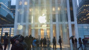 Demonstration foran en Apple butik