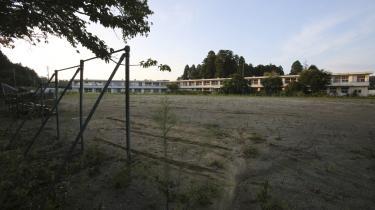 Naraha Kita Elementary School i Naraha ved Fukushima. Byen blev sidste efterår den første af de syv byer, der har været fuldstændig evakueret efter katastrofen i 2011, til at åbne igen.