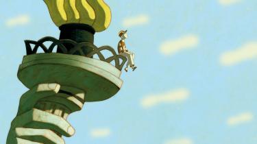 Lille Leo er fløjet en tur op på toppen af Frihedsgudinden i den animerede superheltefilm, 'Fantomdrengen'. Foto: Angel Films